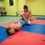 competitive mixed wrestling with bondage
