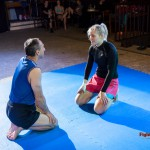 Competitive mixed wrestling staredown
