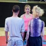 Diana vs Joseph and Ales staredown before the match