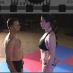 Staredown before the mixed wrestling match between Xena and Gregor