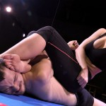 Akela dominates Frank during mixed wrestling