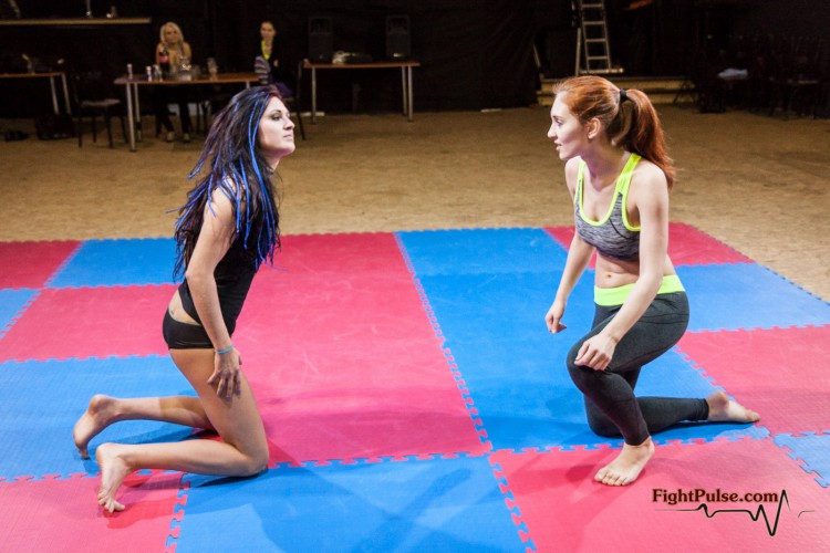 getting ready to tackle - competitive female wrestling video with Akela and Jane