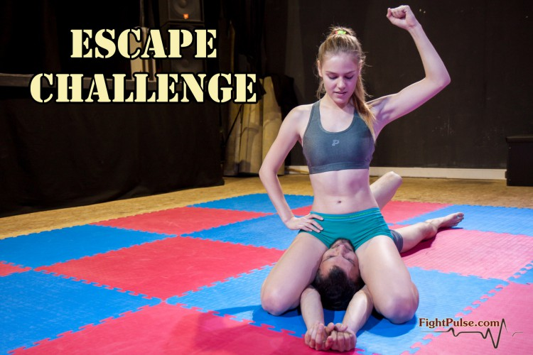 Calypso vs Frank - escape challenge - schoolgirl pin victory pose